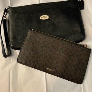 Black Coach wristlet with removable coin purse